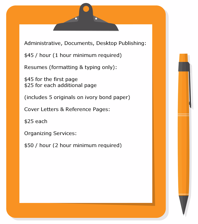 Smart Secretarial Service - Administrative, Documents, Desktop Publishing, Reference Letters, Cover Letters, Resumes, Organizing Services for Bergen County New Jersey Businesses - Rates and Policies